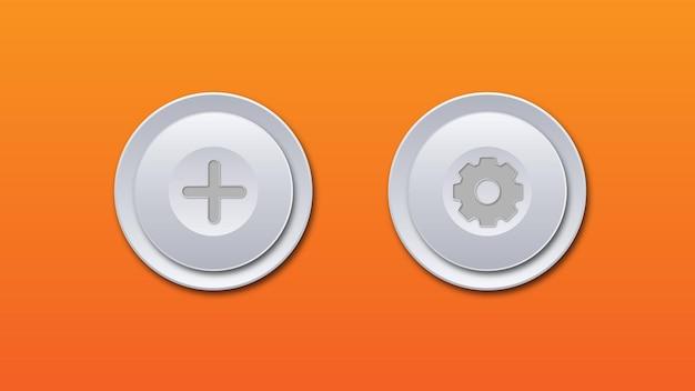 Bianco grigio lucido metallizzato tecnologico moderno design pulsante rotondo aggiungi impostazione