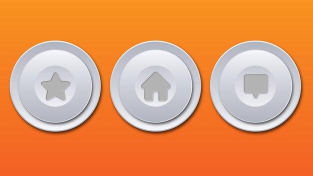 Bianco grigio lucido metallizzato tecnologico moderno design pulsante rotondo home star messaggio