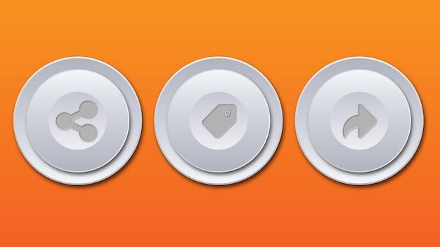 Bianco grigio lucido metallizzato tecnologico moderno design pulsante rotondo invia etichetta condividi