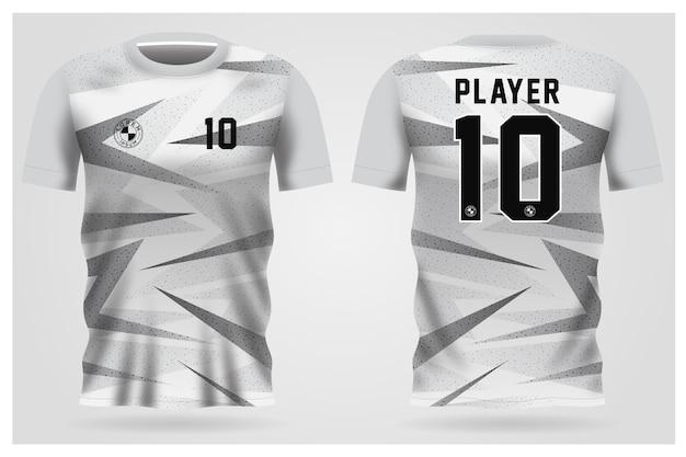 Divisa da calcio grigia bianca per squadra di calcio, t-shirt vista anteriore e posteriore