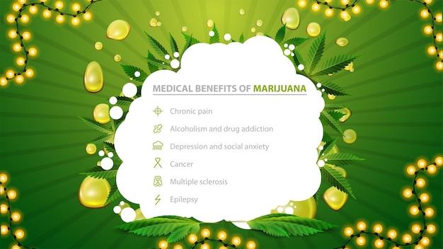 Banner bianco e verde con benefici medici della marijuana. baner per sito web con foglie di marijuana e forma astratta. benefici usi della marijuana medica