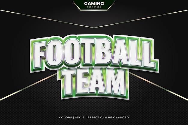 Effetto di testo curvo bianco e verde in stile 3d per identità o logo di e-sport.