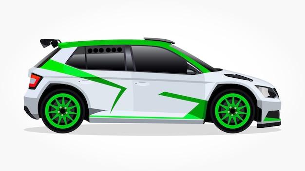 Cartone animato di auto da corsa bianca hatchback verde con effetto laterale e ombra dettagliate