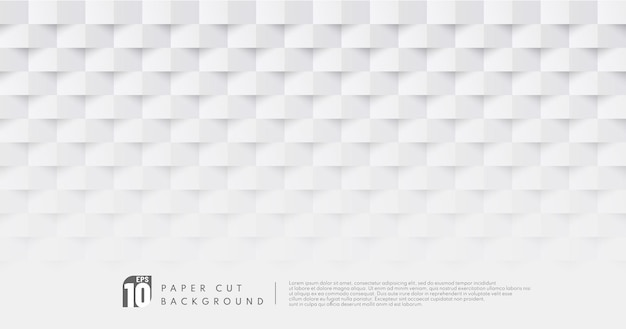 Fondo del modello di progettazione del taglio della carta di colore bianco e grigio