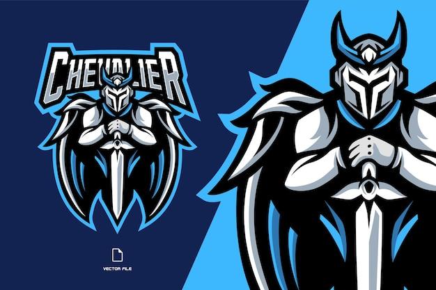 Illustrazione del logo del gioco sportivo della mascotte del cavaliere guardiano bianco per la squadra del gioco sportivo