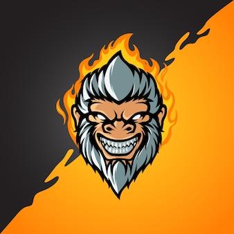 Logo di testa di scimmia di capelli bianchi e sport