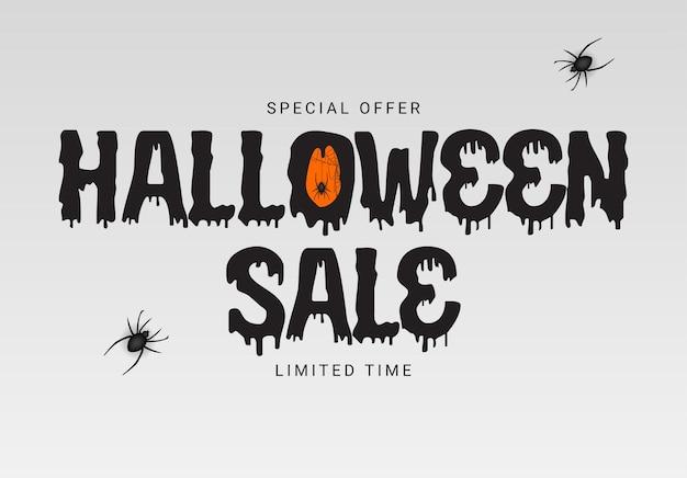 Modello di poster bianco happy halloween acquista ora sfondo con pipistrello e ragno