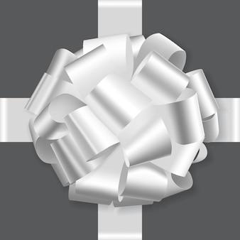 Fiocco bianco festivo su sfondo bianco vettore Vettore Premium