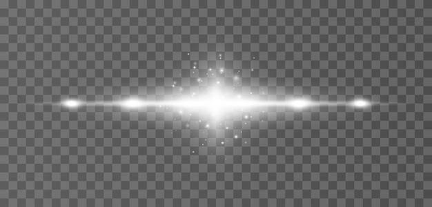 Raggi orizzontali bianchi del chiarore dell'obiettivo