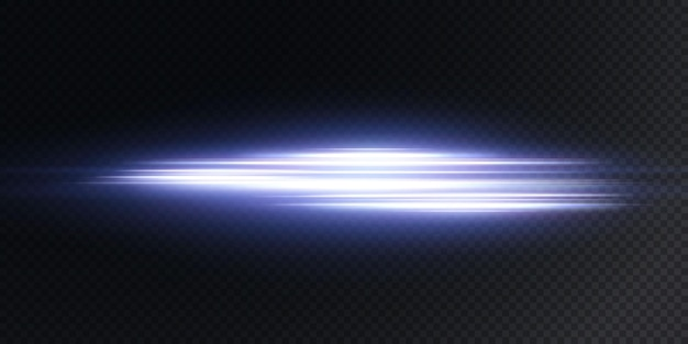 La lente orizzontale bianca si illumina sul blu scuro