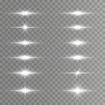 Razzi di lenti orizzontali bianchi, raggi laser, bagliori di luce.