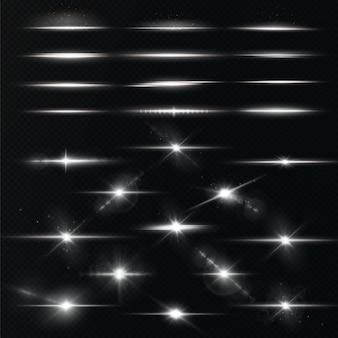 Confezione di riflessi lenti orizzontali bianchi. raggio laser. bei bagliori di luce. stella bianca.