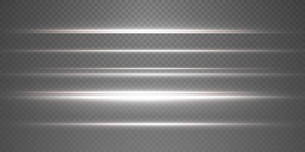 Confezione di riflessi lenti orizzontali bianchi. raggi laser, raggi luminosi orizzontali. bei bagliori di luce.