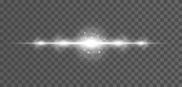 Razzi di lenti orizzontali bianchi confezionano fasci laser bagliori di luce