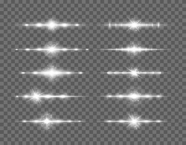 Pacchetto di razzi di lenti orizzontali bianchi, raggi laser, bagliori di luce