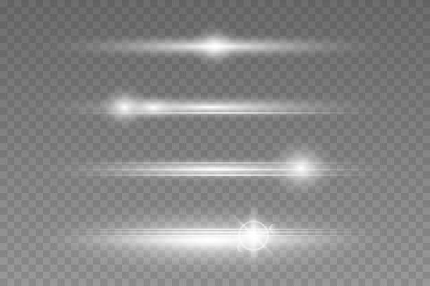 Pacchetto di razzi di lenti orizzontali bianchi su sfondo trasparente.