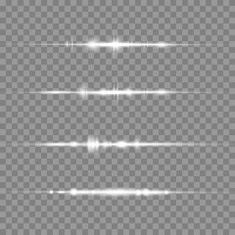 Pacchetto di razzi di lenti orizzontali bianchi su sfondo trasparente
