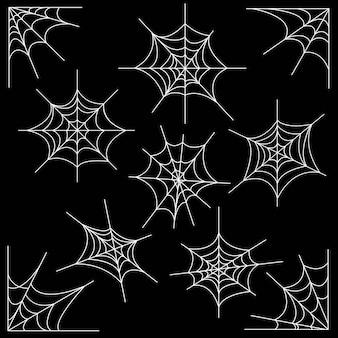 Ragnatela bianca dell'orrore. spider web spaventoso fumetto isolato design e arredamento spettrale isolato elementi astratti con su sfondo scuro piatto nero vettore set