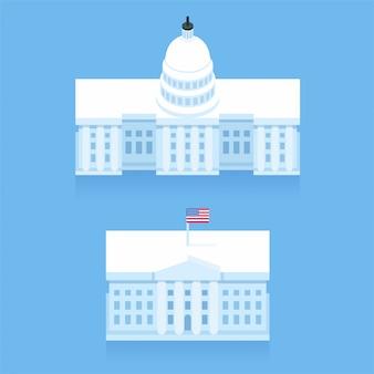 Edificio della casa bianca e del campidoglio in stile cartone animato piatto stilizzato. monumenti di washington dc.