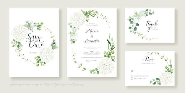 Ortensia bianca con modello di carta di invito matrimonio fiore di giglio.