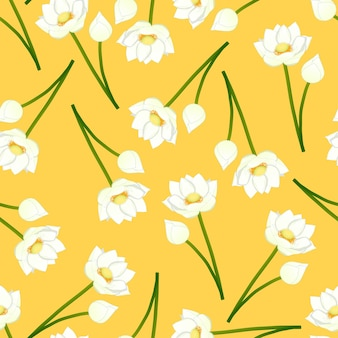 Loto indiano bianco su sfondo giallo