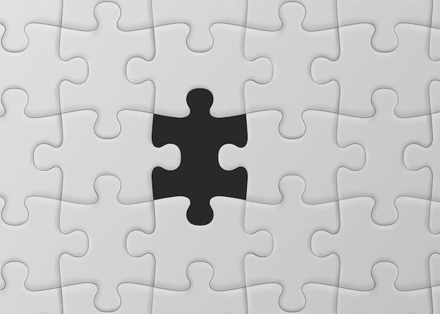 Puzzle bianco con pezzo mancante. soluzione