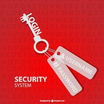 Chiave di sicurezza log in vettoriale