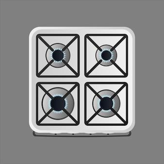 Fornello da cucina bianco con vista dall'alto. fornello a gas incluso.