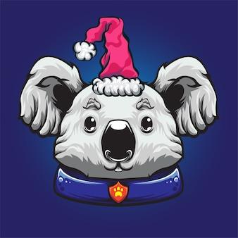 White koala chistmas hat logo mascotte