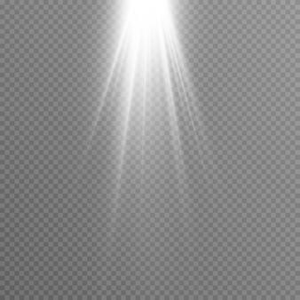 Bagliore dei raggi del sole di luce bianca