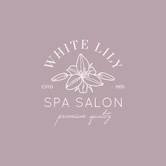Modello di progettazione del logo del fiore di giglio bianco in stile lineare minimale semplice. emblema floreale vettoriale e icona per beauty studio, spa