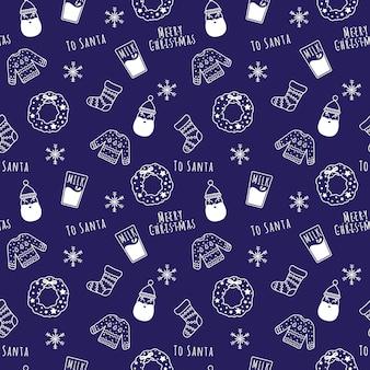 Cartone animato lineare bianco natale e capodanno senza cuciture con babbo natale, ghirlanda, latte, fiocchi di neve, calzino, maglione.