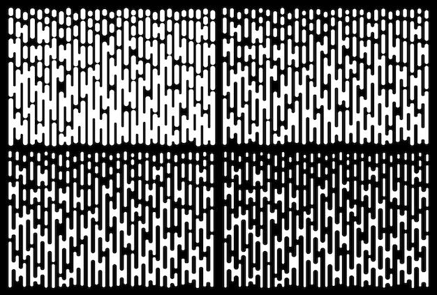 Set di motivi sfumati di linee bianche. collezione di texture linea mezzetinte verticale