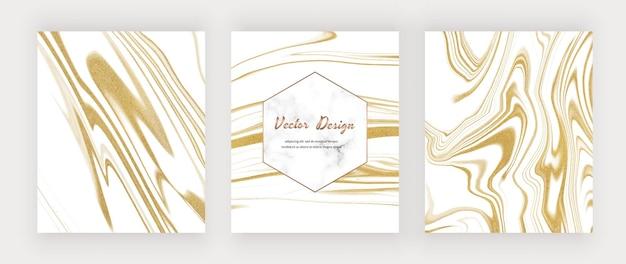 Inchiostro liquido bianco con glitter oro e cornice in marmo.