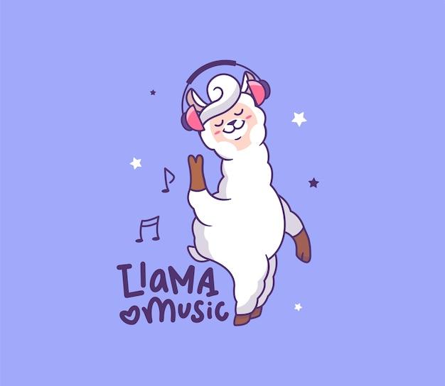 Il lama bianco sta ascoltando la musica in cuffia. animale da cartone animato con frase scritta llama ama la musica.