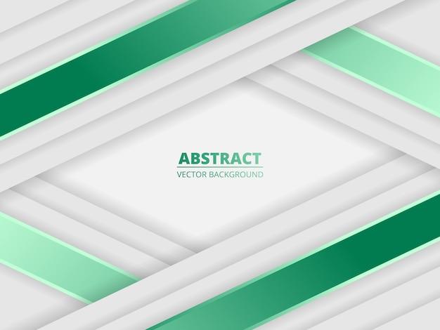 Sfondo astratto di lusso bianco con linee verdi e ombre.