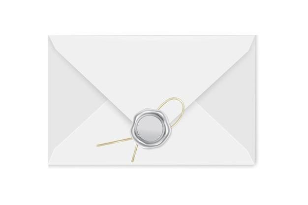 Busta per posta bianca con timbro. illustrazione del sigillo di lusso in cera