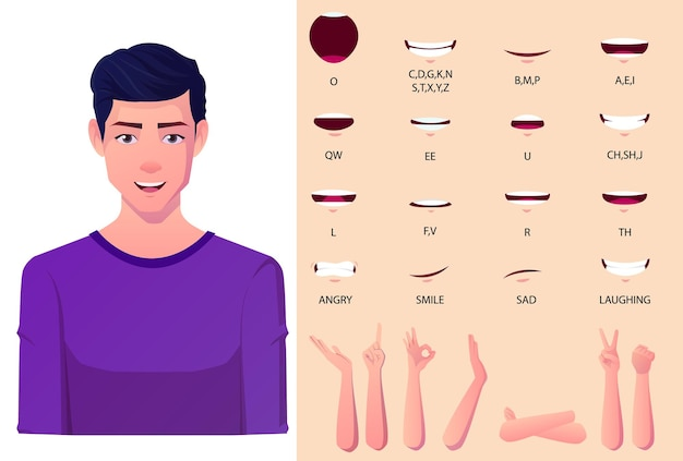 Pacchetto animazione bocca uomo bianco con sincronizzazione labiale set uomo in abito nero per presentazioni con gesti delle mani hifrent piatti