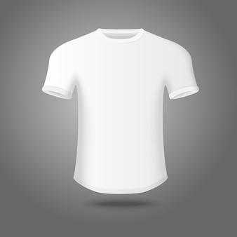 T-shirt da uomo bianco su sfondo grigio, per il tuo marchio aziendale, ecc.