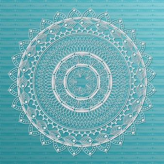 Mandala bianco su sfondo blu disegno di ornamento bohemien