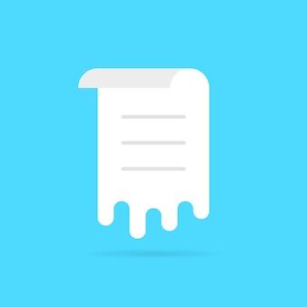 Foglio fuso bianco con elenco. concetto di memo, flusso di lavoro, voto, interfaccia utente, menu arrotolato, modello di documento, avviso, pianificazione, post. stile piatto tendenza logo moderno design grafico illustrazione vettoriale su sfondo blu