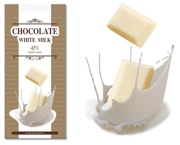 Design della confezione di cioccolato al latte bianco