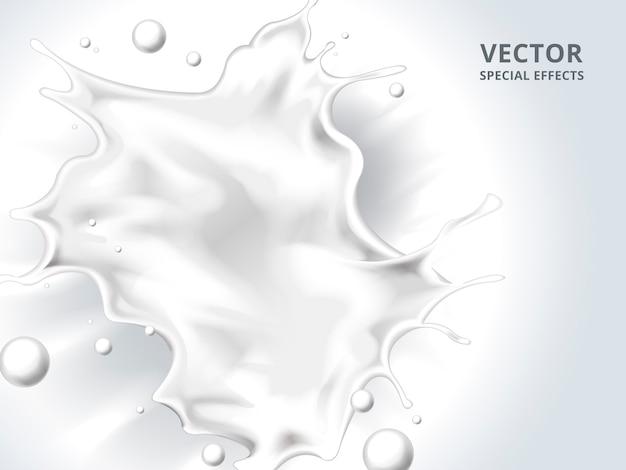 Spruzzata di liquido latte bianco, illustrazione 3d