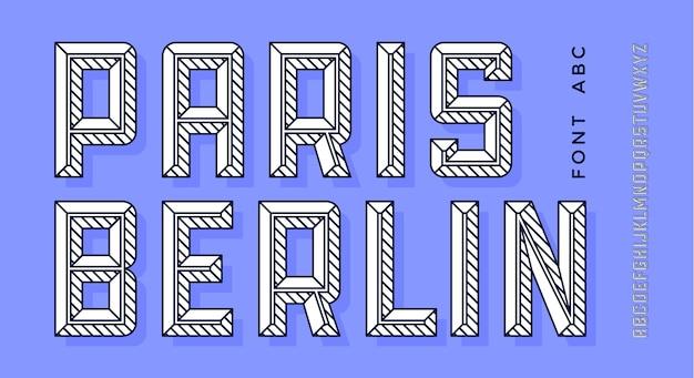 Alfabeto di linea moderna bianca e carattere 3d