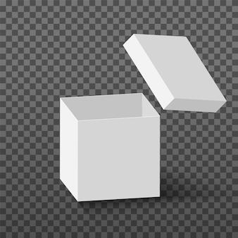 La scatola aperta bianca deride il cubo di cartone realistico con la scatola vuota di sorpresa del pacchetto vuoto del coperchio volante