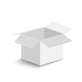 Scatola aperta bianca su sfondo bianco. scatola aperta con ombra. illustrazione