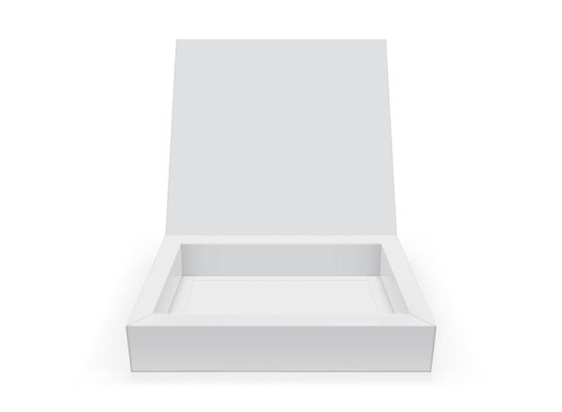 Scatola quadrata aperta bianca isolata