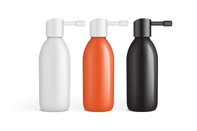 Bottiglia di plastica bianca, arancione e nera per spray per le orecchie isolato sul modello di sfondo bianco