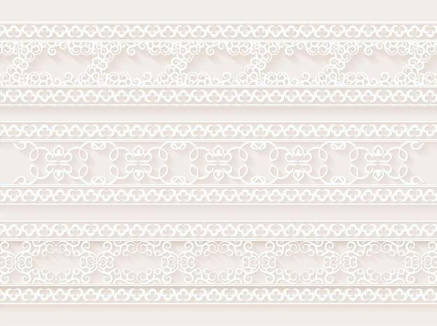 Modello struttura bordo ornamentale bianco
