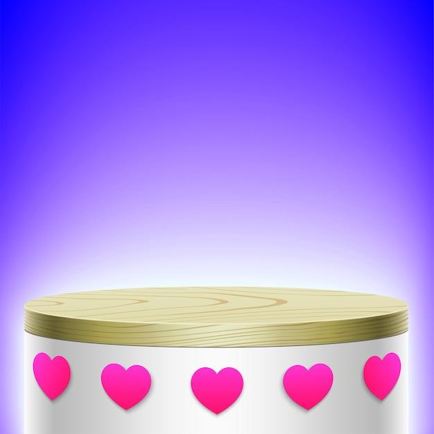 Display ovale bianco con coperchio in legno e icone cuore rosa, isolato su sfondo viola.